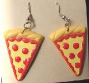 PIZZA SLICE EARRINGS - Fast-Food Restaurant Parlor Waitress Charm Jewelry