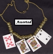 PLAYING CARDS NECKLACE - BlackJack Gin Rummy Lucky Charm - Poker Luck Jewelry - Assorted Plastic coated paper charms. Approx. 1.5-inch (3.75cm) Tall x 1-inch (2.5cm) wide