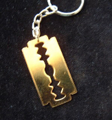 RAZOR BLADE KEYCHAIN - HUGE Vintage Gold-tone Metal Charm on key chain with ring.