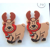 Huge Funky REINDEER MOOSE POST STUD EARRINGS - Rudolph with Red Scarf Painted Holiday Christmas Gift Novelty Costume Jewelry - Big colorful Wood button charms.