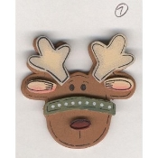 Fun REINDEER RUDOLPH BUTTON PIN BROOCH - Dimensional Painted Wood Country Christmas Gift Jewelry