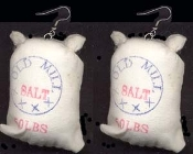 SALT BAG SACK EARRINGS - Bakery Cooking Baking Restaurant Chef Novelty Jewelry - Mini Grocery Store Charm