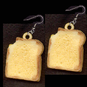 Funky GRILLED CHEESE PEANUT BUTTER & JELLY SANDWICH FRENCH TOAST EARRINGS - HUGE Vintage Vending Food Charm Jewelry