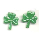 SHAMROCK BUTTON STUD POST EARRINGS - Irish St. Patrick's Day Jewelry -Pearl Green