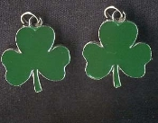 SHAMROCK CLOVER EARRINGS - Irish / Ireland St. Patricks Day Lucky Enameled Metal Charm Jewelry