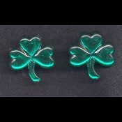 SHAMROCK EMERALD GREEN RHINESTONE JEWEL BUTTON POST STUD EARRINGS - Irish St Patricks Day Jewelry - Acrylic