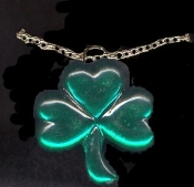 SHAMROCK JEWEL PENDANT NECKLACE-Irish Clover Lucky Charm Jewelry