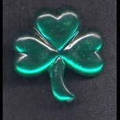 Lucky Clover SHAMROCK JEWEL PIN BROOCH - Irish St. Patricks Day Jewelry - Acrylic, Mirror-Back Rhinestone Button.