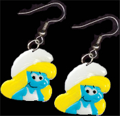 Huge SMURFETTE SMURF FACE EARRINGS - TV Movie Character Jewelry