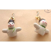 SNOWMAN EARRINGS - Winter Snow Charm Jewelry - Tiny 3-d Wood