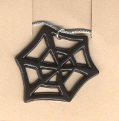 SPIDER WEB PENDANT NECKLACE-Punk Gothic Witch Costume Jewelry-BK