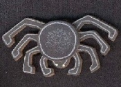 Grey-Black SPIDER COUNTRY WOOD PIN BROOCH - Halloween Witch Gothic Wicca Charm Jewelry