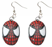 SPIDER-MAN OPAQUE FACE MASK DANGLE EARRINGS - Collectible Spiderman Movie Super-Hero Jewelry - BIG Dimensional Charm