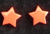 Star Button Post Earrings - Orange