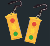 Big TRAFFIC STOP LIGHT SIGNAL ROAD STREET SIGN EARRINGS - School Bus Driver, Crossing Guard, Police Officer, Teacher Replica Novelty Costume Jewelry - Red means STOP. Green means GO. Yellow means GO VERY FAST!