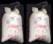 Huge SUGAR BAG SACK EARRINGS - Bakery, Cooking, Baking Chef, Sweet Tooth Novelty Bakery Food Charm Costume Jewelry - Realistic Mini Grocery Store stuffed fabric pouch, approx. 1.5 inch (3.75cm) diameter.