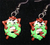 Mini Crazy TAZ BITING WREATH EARRINGS - Looney Tunes Christmas Holiday Novelty Costume Jewelry - Xmas Tasmanian Devil cartoon comics character dangle charm
