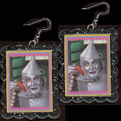 HUGE Wizard of Oz - TIN MAN WOODSMAN EARRINGS - Funky TinMan Heart Novelty Costume Jewelry - BIG clear blue glitter plastic frame toy Jack Haley photo image charms. Lions and Tigers and Bears. Oh My! If I only had a HEART!