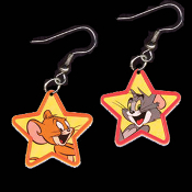 Huge TOM & JERRY EARRINGS - TV Movie Character Jewelry