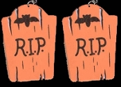 Funny Gothic TOMBSTONE ''R.I.P.'' RIP EARRINGS - Wood Halloween Cemetery Graveyard Novelty Retirement Over the Hill Costume Jewelry -ORANGE