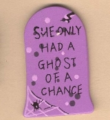 Funny Gothic TOMBSTONE ''She Only Had a Ghost of a Chance'' EARRINGS - Wood Halloween Cemetery Graveyard Novelty Retirement Costume Jewelry -PURPLE