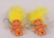 NEW - Funky Vintage Lucky TROLL DOLL EARRINGS - Miniature Retro Nostalgic Collectible Toy Charm Costume Jewelry - YELLOW - Nostalgic mini trolls approx. 1-inch tall (2.5cm) without hair. Made in Korea. Fun to collect and wear!
