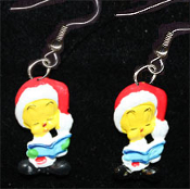 Mini Singing TWEETY BIRD SANTA CAP PENDANT NECKLACE - Looney Tunes Christmas Carol Book Holiday Novelty Costume Jewelry - Xmas Canary cartoon comics character dangle charm