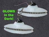 GLOW-in-the-DARK UFO / FLYING SAUCER EARRINGS - Martian GID Collectible Jewelry - BIG
