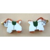 Tiny Wood UNICORN BUTTON EARRINGS - Mythical Fantasy Gift Jewelry