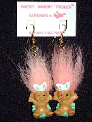 Mini collectible TROLL DOLL WACKY WABBIT Easter Bunny EARRINGS - Punk funky retro Russ Berrie little retired spring holiday novelty costume jewelry - PEACH Hair - Miniature vintage cute lucky charm gnome rabbit trolls sitting in decorated egg.