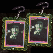 HUGE Wizard of Oz - The WICKED WITCH-of-the-WEST EARRINGS - Funky Ruby Slippers Villain Novelty Jewelry - BIG clear green glitter plastic frame toy Margaret Hamilton photo charms. I'll Get You by releasing my Flying Monkeys, My Pretty!