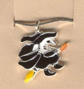 WITCH on BROOMSTICK PENDANT NECKLACE-Gothic Enamel Charm Jewelry