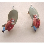 Funky Mini Figure YOSEMITE SAM EARRINGS - Bugs Bunny Varmint Friend Famous Looney Tunes Novelty Costume Jewelry - Favorite funny classic cartoon comics character animal theme dangle charm fully dimensional figurine.