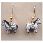 Tiny ZEBRA EARRINGS - Clay Peruvian Beads Miniature Zoo Jewelry