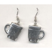 DRINK MUG EARRINGS - Coffee Cup Jewelry - METALLIC Silver-tone Plastic Charm