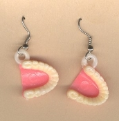Mini Vintage Funky FALSE TEETH DENTURES EARRINGS - Vending Gumball Charm Dentist Gag Gift Jewelry