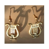 HARP LYRE EARRINGS - Musical Instrument Jewelry - Small GOLD-tone