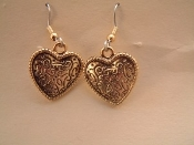 Vintage HEART EARRINGS - Valentines Day Gift Jewelry - Fancy Gold Metal -A