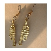 TRUMPET EARRINGS - Horn Bugle Musical Instrument Jewelry -Small