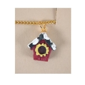 BIRD HOUSE PENDANT NECKLACE - Sunflower Summer Garden Jewelry