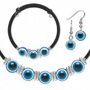 Body Parts EVIL EYE JEWELRY 3-pc SET - Choker Necklace, Bracelet, Earrings - Funky Creepy 3-D Blue Eyes Charm Cosplay Costume Jewelry