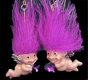 Mini collectible TROLL DOLL WINGED CUPID EARRINGS - Punk funky retro Russ Berrie little TRUE LOVE TROLLS retired costume jewelry - PURPLE MAGENTA Hair - Miniature vintage Valentine's Day lucky charm angel gnome with heart-shaped rhinestone