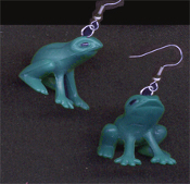 "Miniature Dimensional FROG TOAD EARRINGS - Amphibian Pond Frogs Rubbery Plastic Toy Charm Jewelry - Mini 3-D figure, approx. 3/4"" diameter. Great to wear while lounging on your comfortable lily pad!"