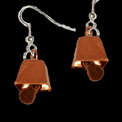Mini Copper COWBELL EARRINGS-Bovine Dairy Farm Moo-Juice Milk Farmer Costume Jewelry-Realistic miniature metal charms, approx. 3/8-inch (9mm) diameter. Whimsical tiny cow bells really tinkle when you move. Ring-a-ling-ling til the cows come home!