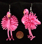 Funky Dangle FLAMINGO EARRINGS Tropical Bird Luau Costume Jewelry. HUGE Bright Pink toy charms for cruise, beach, Luau, summer backyard beach party. Cute quirky kitsch to wear with Hawaiian grass hula skirt and coconut bra while sipping a margarita!