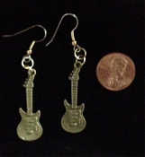 Funky Punk ELECTRIC GUITAR EARRINGS - Miniature Pewter Acoustic String Instrument Rock Band Musician Costume Jewelry - Gold-tone Bronze - mini metal charms, approx. 1.38-inch long x 0.5-inch wide. Great for ravers, rockers, bikers!