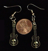 Funky Gothic Punk SKULL ELECTRIC GUITAR EARRINGS - Miniature Pewter Acoustic String Instrument Rock Band Musician Costume Jewelry - Gold-tone Bronze with dimensional SKULL design mini metal charms 1-1/4-in x 1/2-in. Great for ravers, rockers, bikers!