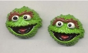 OSCAR the GROUCH BUTTON EARRINGS - Sesame Street TV Costume Jewelry - Large Resin 3-D Dimensional Charms, each approx. 3/4-inch diameter.