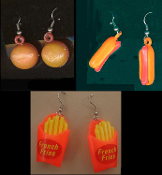 HOT-DOG - HAMBURGER - FRENCH FRIES EARRINGS - Retro USA American Novelty Restaurant Charms Costume Jewelry - 3-pair SET