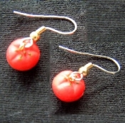 Tiny Tomato Earrings - Miniature Rubbery Plastic Garden Vegetable Charm